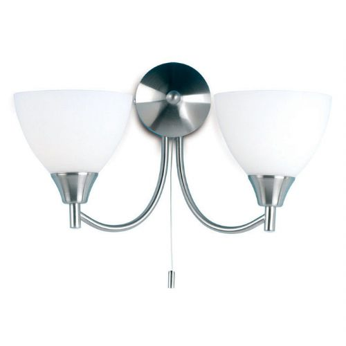 Satin Chrome Wall Bracket + Opal Glass 1805-2SC